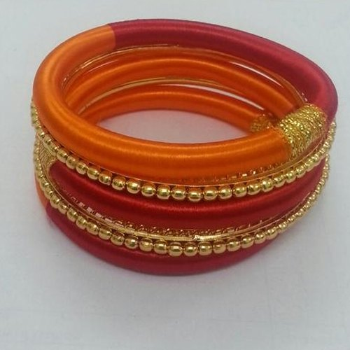 Indian Silk Thread Bangle with Golden Bead Bangle