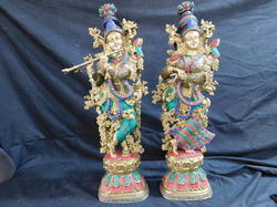 Brass Radha Krishna Idol Statue Handicraft