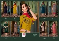 Designer Rayon Embroidery  Kurtis With Stoll