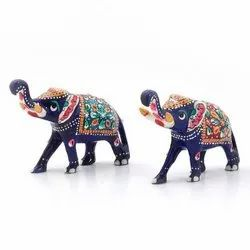 Enamel Work Decorative Elephant Pair 133