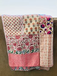 Block Printed Kantha Work Bed Cover