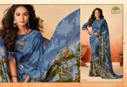 Party Wear Printed Gerogette Saree, 6 m (with blouse piece)