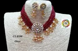 CL Jewellery Ahemdabad Kundan Onex Beads Women Choker Necklace
