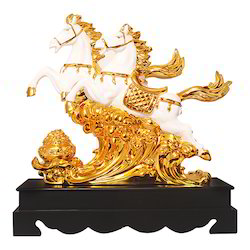 Gold Plated Running Horse Statue/ Showpiece Corporate Gift