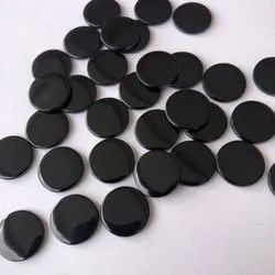 Black Onyx Stone Smooth Coin Shape Gemstone