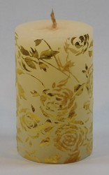 Flower Print Pillar Candle