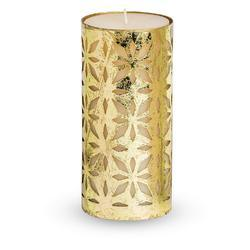 Scented Pillar Candle with Metal Grid Candle Holder 6 inches