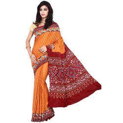 Orange Bandhani Saree