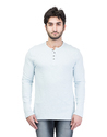 White Cotton Fashionable Henley Neck T-shirt For Men