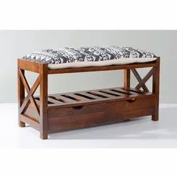 Contemporary Wooden Open Storage Bench