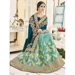 Wedding Wear Lehenga Saree, 5.5 M (separate Blouse Piece)