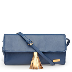 Blue Synthetic Leather Sling Bag
