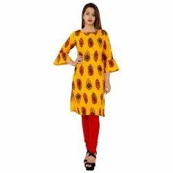 Ladies Printed Yellow Cotton Kurti