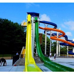 Yello and Green Straight Water Park Slide