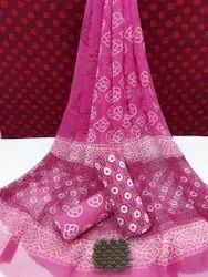Exclusive Natural Bagru Hand Block Printed Cotton Dress Material With Chiffon Dupatta.
