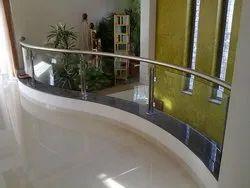 SS Spiral Glass Handrail