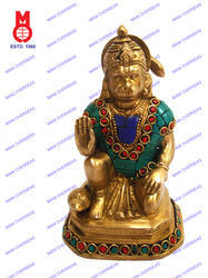 Hanuman Sitting On Sq. W/Stone Work Statue