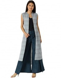Women Blue Self Print Handloom Shrug