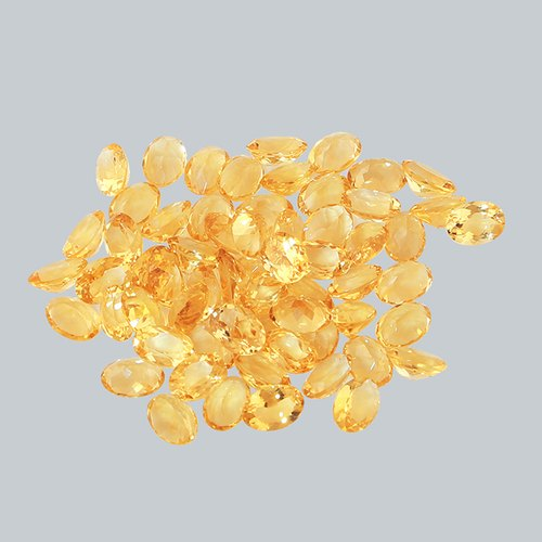 Faceted Yellow Citrine Semi Precious Stone Oval Shape 10x14 Size