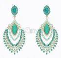 Eluceo Fashion Trendy European Blue And Sea Green Ethnic Stone Set Drop Long Earrings