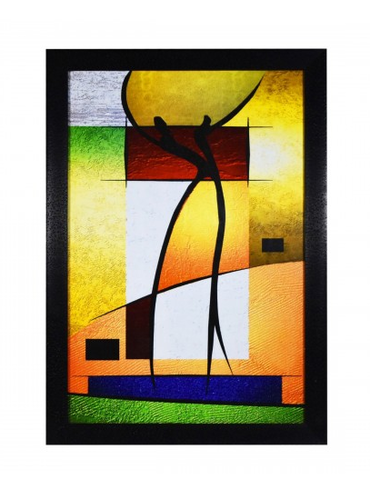 2 Abstract Figure Art Wall Painting With Glass And Frame, Deewar ...