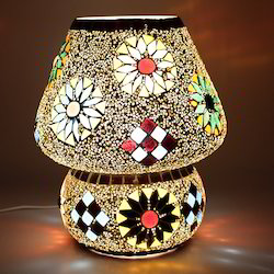 Glass Electric Crystal Decorated Floral Design Dome Table Lamp, 5 W - 100 W, For Household, Commercial