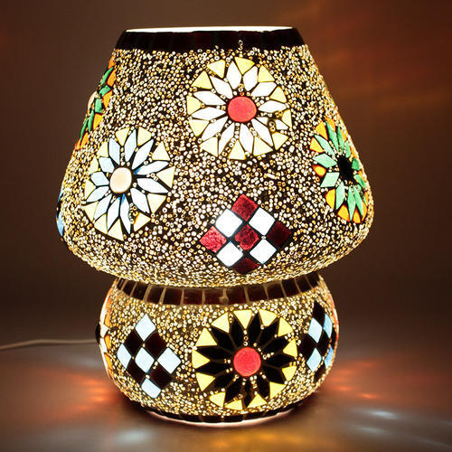Earthen Metal Crystal Decorated Floral Design Dome Lamp