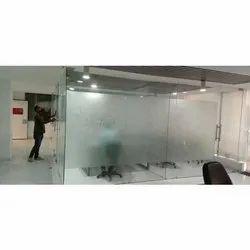 Transparent Glass Office Partition, Shape: Rectangular