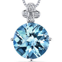 Oval And Swiss Blue Topaz Round Pendant