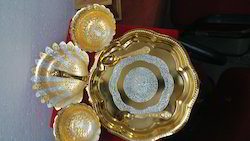 Silver & Gold Plated Mix Round Plate With 3 Bowls