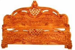 Teak Wood Antique Intricately Hand carved Wooden Bed, Model Number: IAV2000