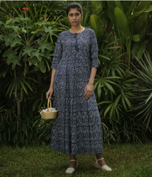 a25307ae631 Navy Blue Floral Printed Cotton Maxi Dress