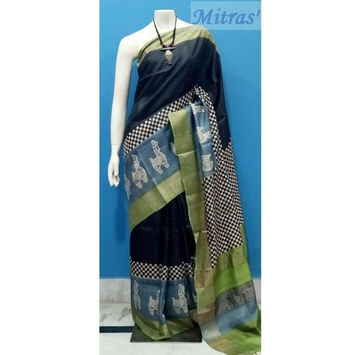 Mitras'  Party wear Tussar Silk Saree, With Blouse Piece, 6.4 m