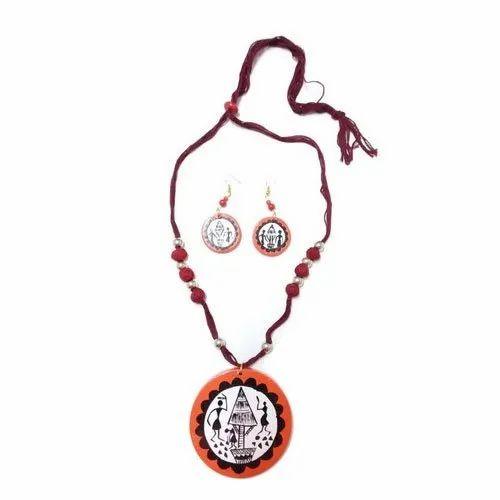 Folk Hand Painted Wood Necklace Set