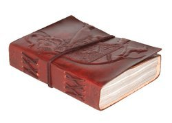 Small Leather Embossed Journal Diary with Tie Closure