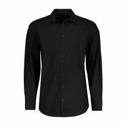 Mens Cotton Black Plain Shirt, Size: M-2XL