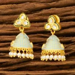 Kundan Jhumki Earring with Matte Gold plating 300163