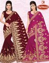 Dyed Georgette Heavy Embroidery & Diamond Work Saree - Moscow