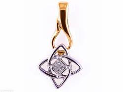 Golden And Silver Diamond Pendant RI-01029