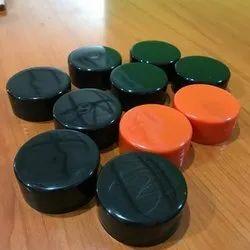 28 Mm Black, Orange Polypropylene Caps, Round