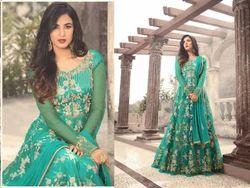Round Chanderi Heavy Net With Embroidery Work Salwar Suit