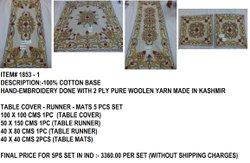 Cotton Duck Hand Embroidered Table Cover Runner Mats 5 Pc Set