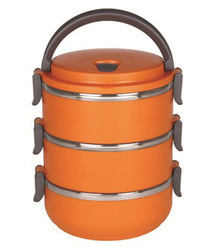 Orange 3 Layer Lunch Box