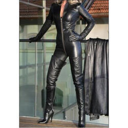 Zipper Ladies Leather Catsuit