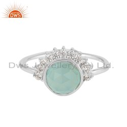 Rising Sun Design Aqua Chalcedony CZ Gemstone Sterling Silver Ring