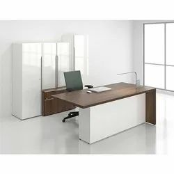 Wooden Office Table, Brown,White