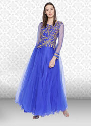 3 4th Sleeves Party Wear Net Gown for Women d9fdc4b5a