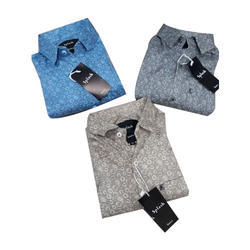 Mens Cotton Printed Party Wear Stylish Shirt, Size: M, L and XL