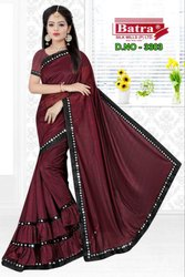 For Women's Beautiful Plain China Silk Saree with Blouse Piece