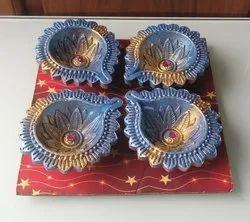 Set Of 4 Designer Diwali Diya Candles